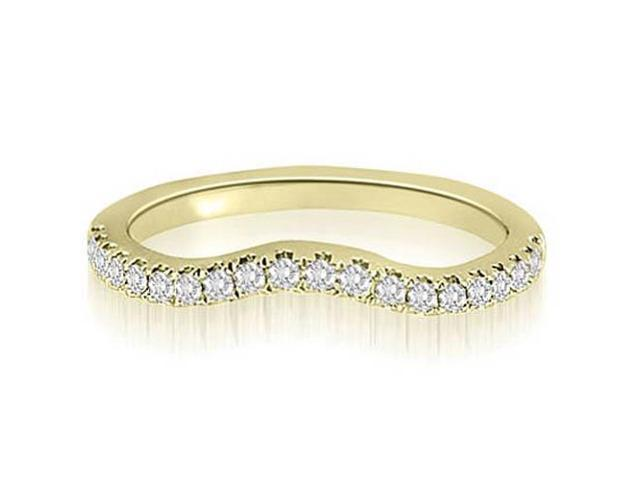 0.25 cttw. Curved Round Cut Diamond Wedding Ring in 18K Yellow Gold (SI2, H-I)