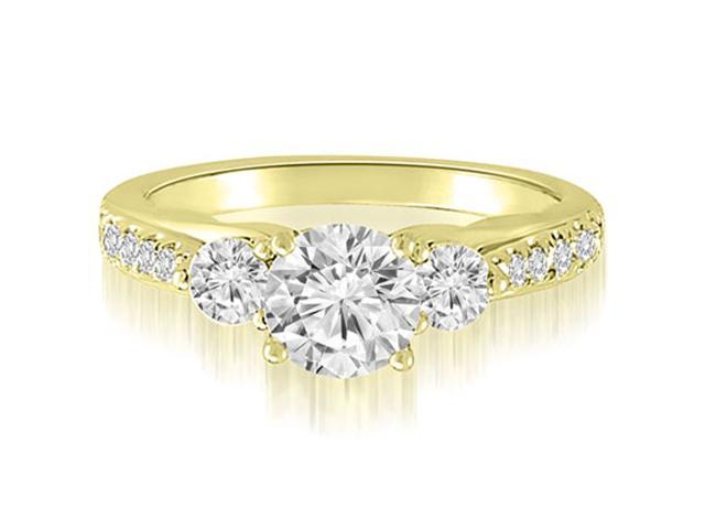 1.47 cttw. Three-Stone Round Cut Diamond Engagement Ring in 14K Yellow Gold (VS2, G-H)