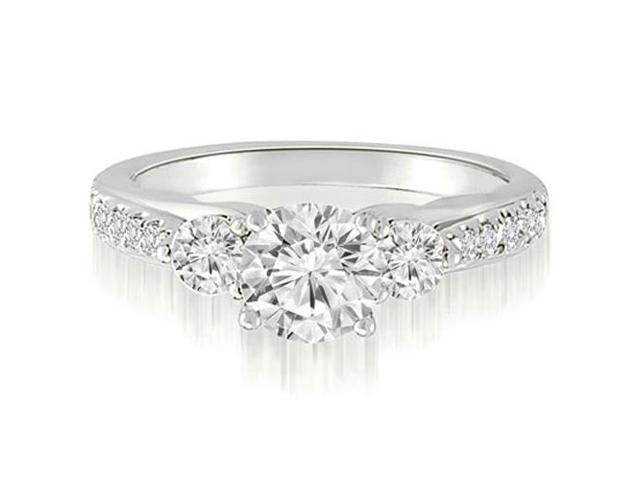 1.22 cttw. Three-Stone Round Cut Diamond Engagement Ring in Platinum (SI2, H-I)