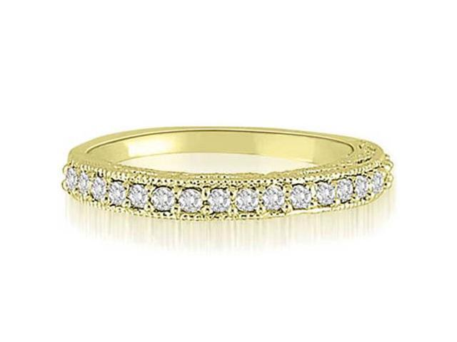 0.30 cttw. Antique Milgrain Round Cut Diamond Wedding Ring in 14K Yellow Gold (SI2, H-I)