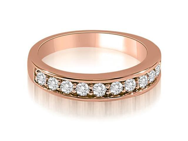 0.65 cttw. Classic Round Cut Diamond Wedding Ring in 18K Rose Gold