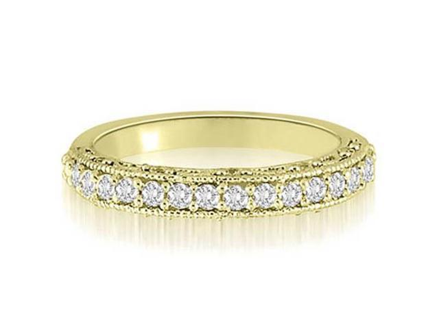 0.35 cttw. Antique Milgrain Round Cut Diamond Wedding Ring in 18K Yellow Gold (SI2, H-I)