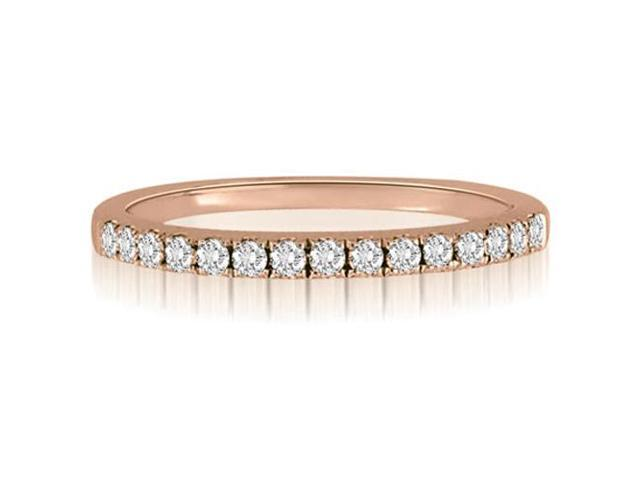 0.25 cttw. Round Cut Diamond Wedding Ring in 18K Rose Gold (SI2, H-I)