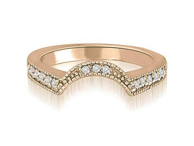 025 Cttw Curved Milgrain Antique Round Diamond Wedding Ring In 14K Rose Gold SI2 H I