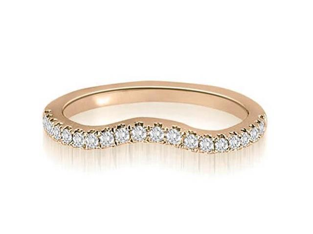 0.25 cttw. Curved Round Cut Diamond Wedding Ring in 14K Rose Gold (VS2, G-H)