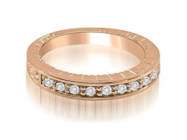 0.30 cttw. Antique Style Round Cut Diamond Wedding Ring in 14K Rose Gold