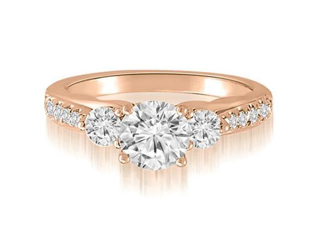 1.17 cttw. Three-Stone Round Cut Diamond Engagement Ring in 18K Rose Gold (SI2, H-I)