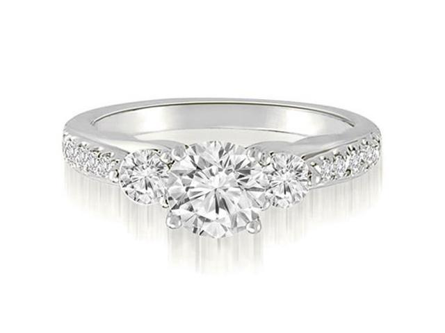 1.47 cttw. Three-Stone Round Cut Diamond Engagement Ring in 18K White Gold (SI2, H-I)