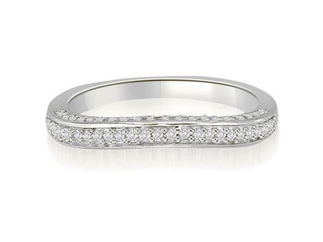 0.40 cttw. Curved Petite Round Cut Diamond Wedding Ring in 18K White Gold (VS2, G-H)