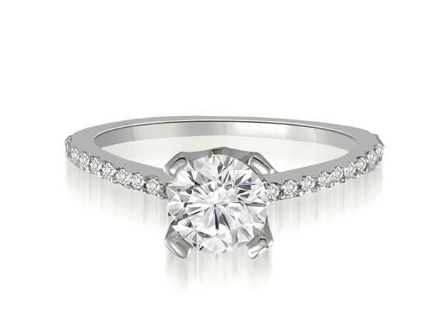 0.77 cttw. Classic Petite Round Cut Diamond Engagement Ring in 14K White Gold