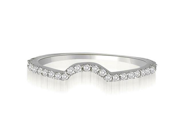 0.25 cttw. Curved Petite Round Cut Diamond Wedding Ring in 14K White Gold (VS2, G-H)