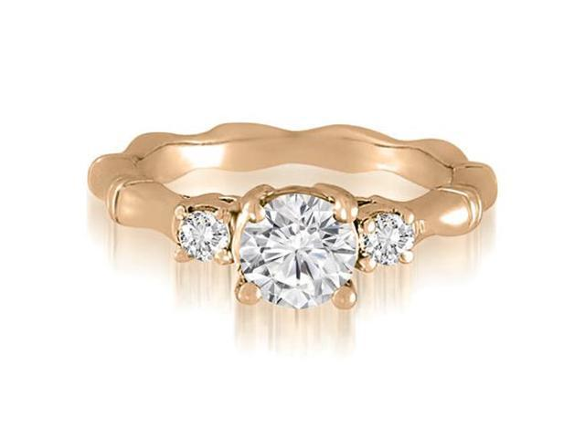 1.00 cttw. Antique Three-Stone Round Diamond Engagement Ring in 14K Rose Gold
