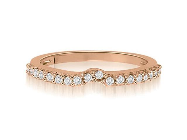 0.30 cttw. Curved Round Cut Petite Diamond Wedding Ring in 18K Rose Gold (VS2, G-H)
