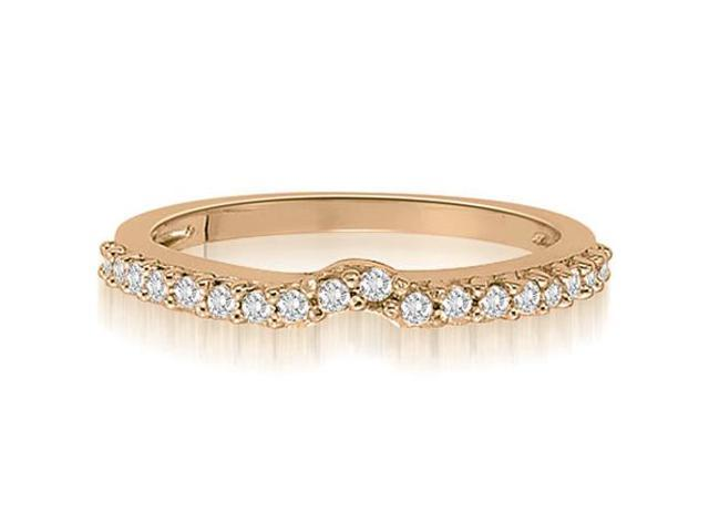 0.30 cttw. Curved Round Cut Petite Diamond Wedding Ring in 14K Rose Gold (VS2, G-H)
