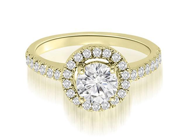 0.75 cttw. Halo Petite Round Cut Diamond Engagement Ring in 18K Yellow Gold (VS2, G-H)