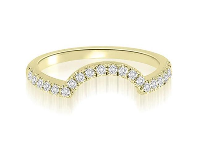 0.20 cttw. Curved Round Cut Diamond Wedding Ring in 18K Yellow Gold (VS2, G-H)