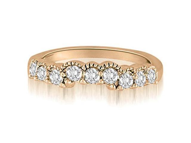 0.50 cttw. Milgrain Curved Round Cut Diamond Wedding Ring in 14K Rose Gold (VS2, G-H)