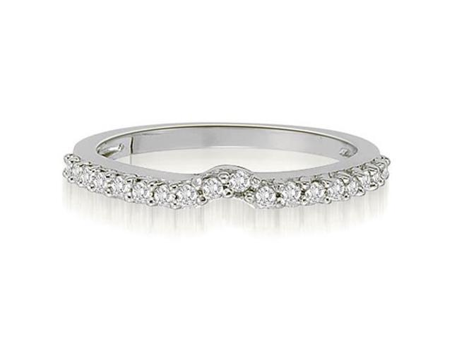 0.30 cttw. Curved Round Cut Petite Diamond Wedding Ring in 18K White Gold (VS2, G-H)