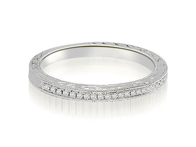 0.10 cttw. Antique Milgrain Petite Round Diamond Wedding Ring in 18K White Gold (VS2, G-H)