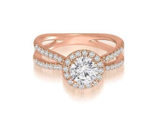 1.10 cttw. Halo Split-Shank Round Diamond Engagement Ring in 18K Rose Gold (SI2, H-I)