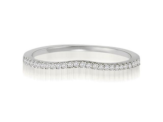 0.15 cttw. Curved Petite Round Cut Diamond Wedding Ring in 18K White Gold (SI2, H-I)