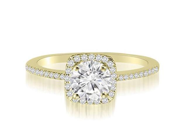 0.70 cttw. Petite Halo Round Cut Diamond Engagement Ring in 18K Yellow Gold (VS2, G-H)