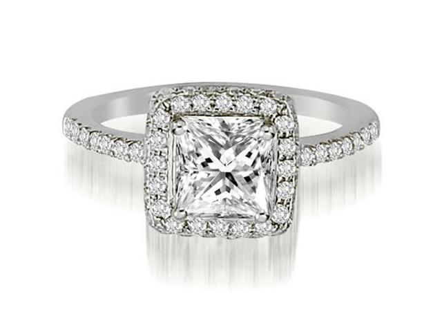 1.00 cttw. Princess And Round Cut Diamond Halo Engagement Ring in 14K White Gold (VS2, G-H)
