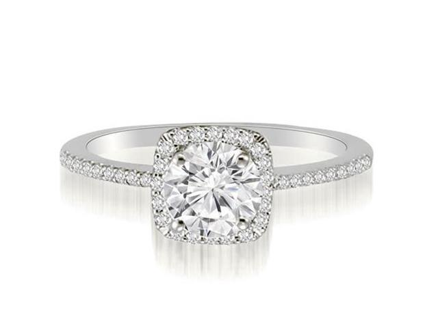 1.20 cttw. Petite Halo Round Cut Diamond Engagement Ring in Platinum (VS2, G-H)