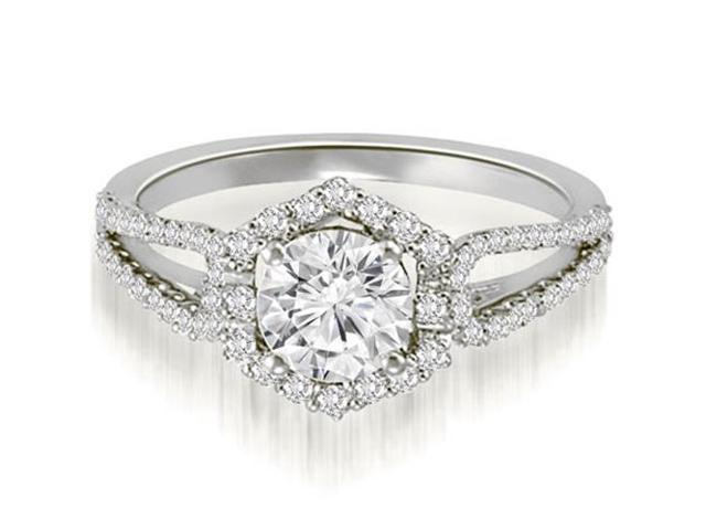1.10 cttw. Halo Round Cut Diamond Split-Shank Engagement Ring in Platinum (SI2, H-I)