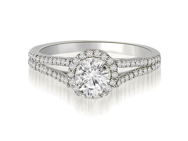 0.85 cttw. Halo Split-Shank Round Cut Diamond Engagement Ring in 14K White Gold (SI2, H-I)