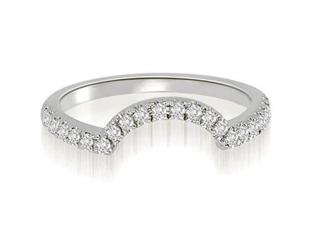 0.20 cttw. Curved Round Cut Diamond Wedding Ring in 14K White Gold (SI2, H-I)