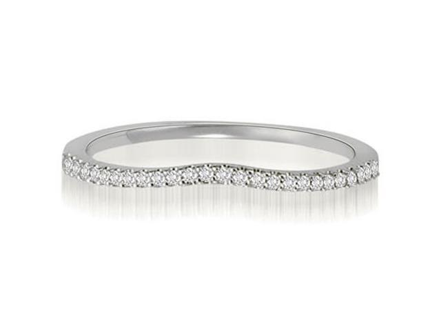 0.15 cttw. Curved Petite Round Cut Diamond Wedding Ring in 14K White Gold (VS2, G-H)