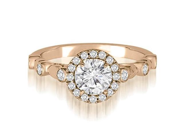 1.22 cttw. Halo Round Cut Diamond Engagement Ring in 14K Rose Gold (VS2, G-H)