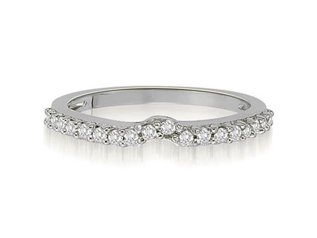 0.30 cttw. Curved Round Cut Petite Diamond Wedding Ring in 14K White Gold (VS2, G-H)