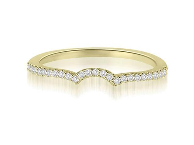 0.15 cttw. Petite Round Cut Diamond Curved Wedding Ring in 18K Yellow Gold (VS2, G-H)