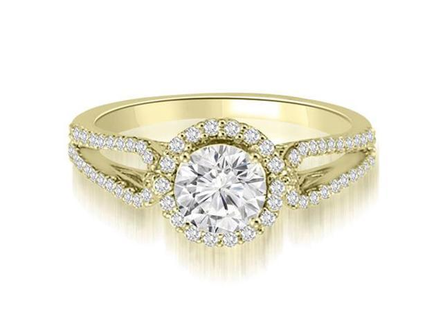 0.80 cttw. Halo Split-Shank Round Diamond Engagement Ring in 18K Yellow Gold (SI2, H-I)