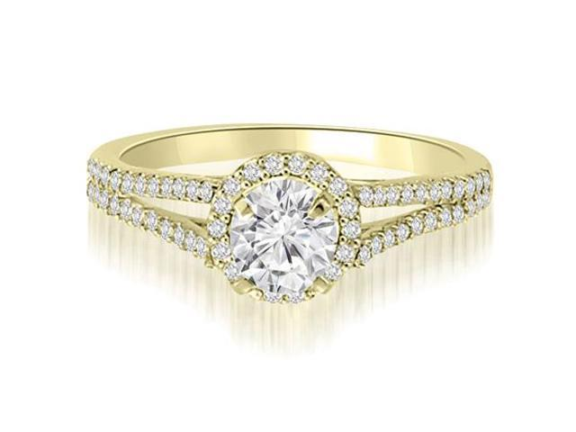 1.35 cttw. Halo Split-Shank Round Cut Diamond Engagement Ring in 18K Yellow Gold (VS2, G-H)