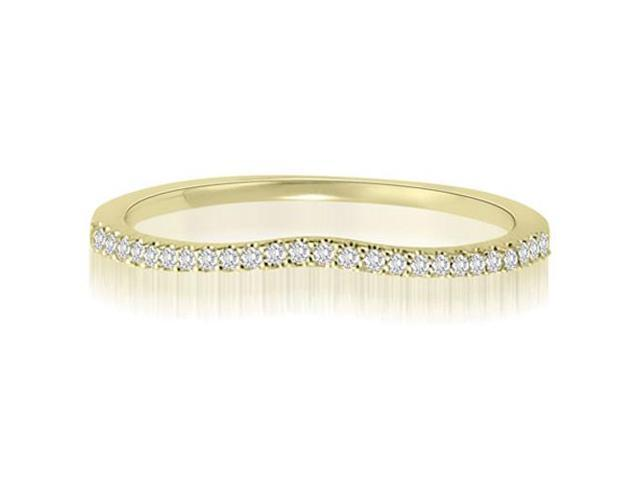 0.15 cttw. Curved Petite Round Cut Diamond Wedding Ring in 18K Yellow Gold (SI2, H-I)