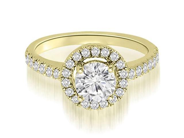 1.00 cttw. Halo Petite Round Cut Diamond Engagement Ring in 14K Yellow Gold (VS2, G-H)