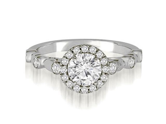 0.97 cttw. Halo Round Cut Diamond Engagement Ring in 14K White Gold (SI2, H-I)
