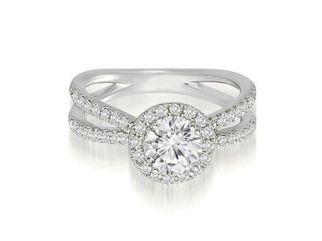 0.80 cttw. Halo Split-Shank Round Diamond Engagement Ring in 18K White Gold (SI2, H-I)