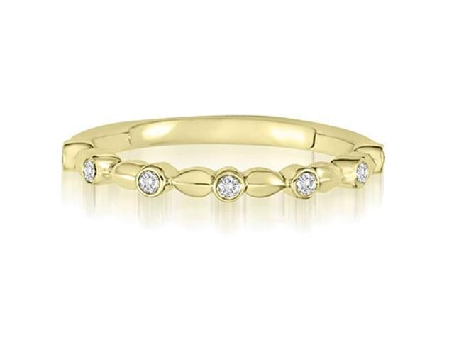 0.07 cttw. Vintage Bezel Set Round Cut Diamond Wedding Ring in 14K Yellow Gold (SI2, H-I)