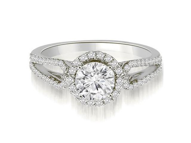 0.85 cttw. Halo Split-Shank Round Diamond Engagement Ring in Platinum (SI2, H-I)