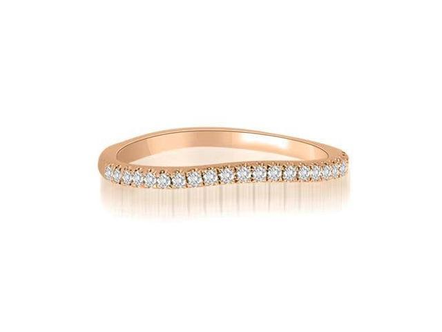 0.15 cttw. Curved Petite Round Cut Diamond Wedding Ring in 14K Rose Gold (SI2, H-I)