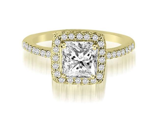 1.50 cttw. Princess And Round Cut Diamond Halo Engagement Ring in 14K Yellow Gold (VS2, G-H)