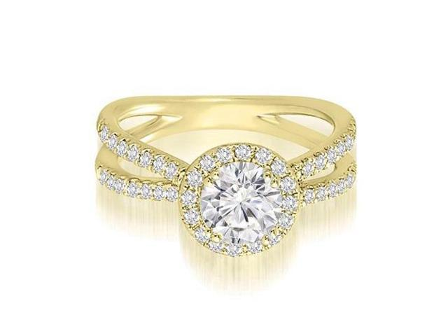 1.10 cttw. Halo Split-Shank Round Diamond Engagement Ring in 18K Yellow Gold (VS2, G-H)
