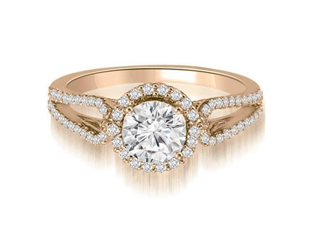 1.10 cttw. Halo Split-Shank Round Diamond Engagement Ring in 14K Rose Gold (SI2, H-I)