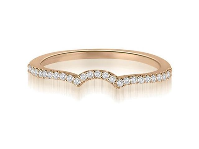 0.15 cttw. Petite Round Cut Diamond Curved Wedding Ring in 14K Rose Gold (SI2, H-I)