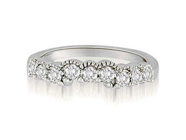 0.50 cttw. Milgrain Curved Round Cut Diamond Wedding Ring in 18K White Gold (SI2, H-I)