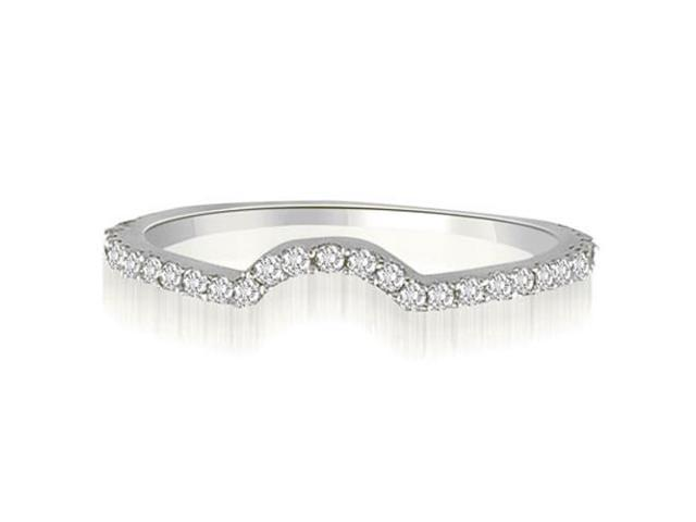 0.25 cttw. Curved Petite Round Cut Diamond Wedding Ring in 18K White Gold (VS2, G-H)